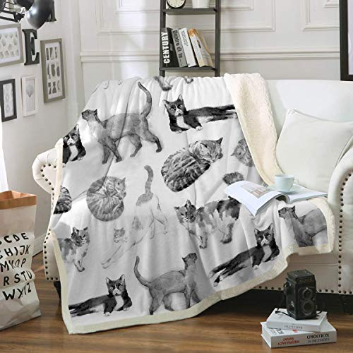 Cat Fleece Throw Blanket Girls Kids Cute Animals Pet Sherpa Blanket for Bed Couch Chair Super Soft Warm and Comfy Cat Lover Gifts,Watercolor Vintage Black White Cats 60x80IN