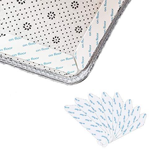 YISUYA - 8 alfombrillas antideslizantes de doble cara, antideslizantes, lavables, para suelos de madera dura, alfombras y alfombrillas, color blanco
