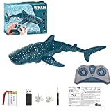 Scale Electric Shark Toy with 2.4ghz Remote Control 1:18 High Simulation Shark Pool Model Spotted Rechargeable for Lake Swimming Bathroom Gift RC Boat Diving Toys for Boys Girls Kids Adult
