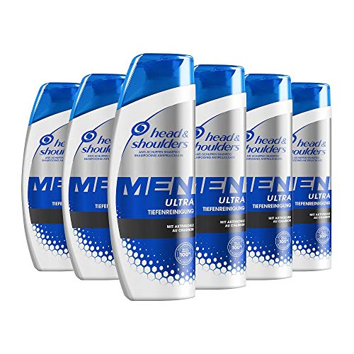 Head & Shoulders Men Ultra Tiefenreinigung Anti-Schuppen Shampoo, 6er Pack (6 x 250 ml), Mit Aktivkohle