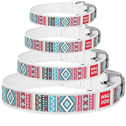 """WAUDOG Design Leather Dog Collar for Puppy Small Medium and Large Dogs - Boy & Girl Leather Dog Collar - Leather Buckle Dog Collar White (11 2/5"""" - 14 4/5"""" Neck 4/5"""" Wide, Ethno-1)"""