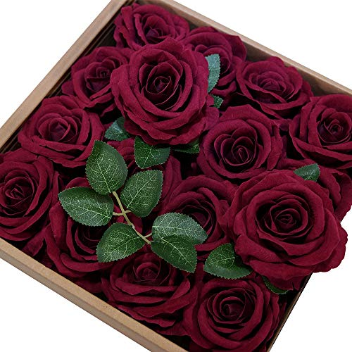 ETERNAL ANGEL Artificial Flowers Dark Red Fake Roses Real Looking Flannelette Flowers with Stem for DIY Arrangements Wedding Bouquets Centerpieces Bridal Shower Party Home Decorations- 16 Pcs