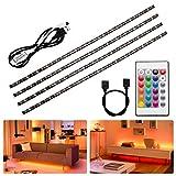 Fulighture LED Lichtleiste,2M USB LED Strip, Farbwechsel LED Leiste mit 24-Key Fernbedienung und Netzteil für TV Hintergrund, TV-Bildschirm, PC, Spiegel, MEHRWEG,4 Stück [Energieklasse A+]