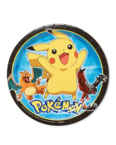 Amscan International 551844 Pokémon Assiette en Carton 23 cm