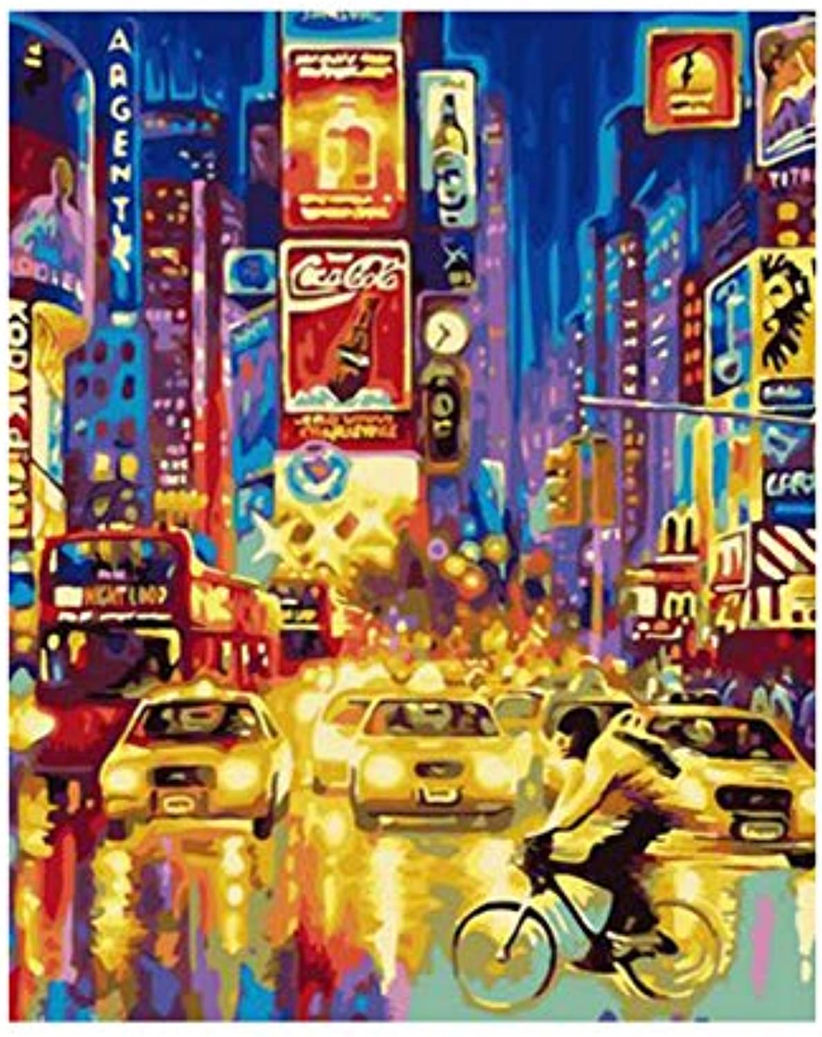 DIY Canvas Prints Streets of San Francisco Landscape Pictures Paintings on Canvas Wall Art for Living Room Bedroom, Framed, 50x60cm