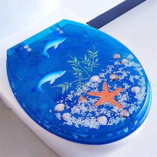 FTYYSWL Toilettensitz aus Kunstharz, transparenter WC-Sitz, solide und langlebig, leuchtende Farben, geeignet für die meisten Toiletten, einfach zu entfernen und zu installieren.