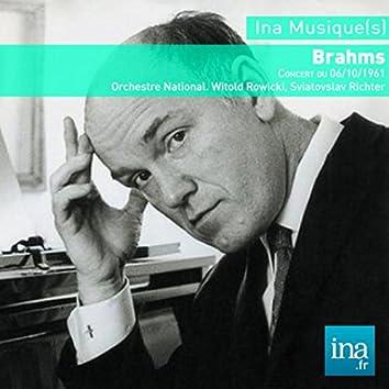 Johannes Brahms, Orchestre National de la RTF, Concert du 06/10/1961, Witold Rowicki (dir), Sviatoslav Richter (piano)