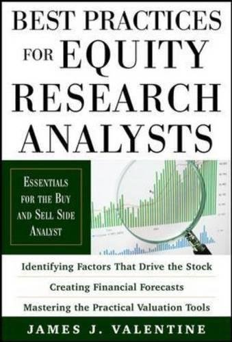 Best Practices for Equity Research Analysts 1st (first) edition Text Only