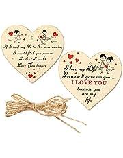 HOWAF 2 Piezas Corazones de Madera Manualidades San Valentín decoración Corazones Adorno Colgante Etiquetas Regalo Originales San Valentín para Mujer, Hombre, Pareja, Novio, Novia