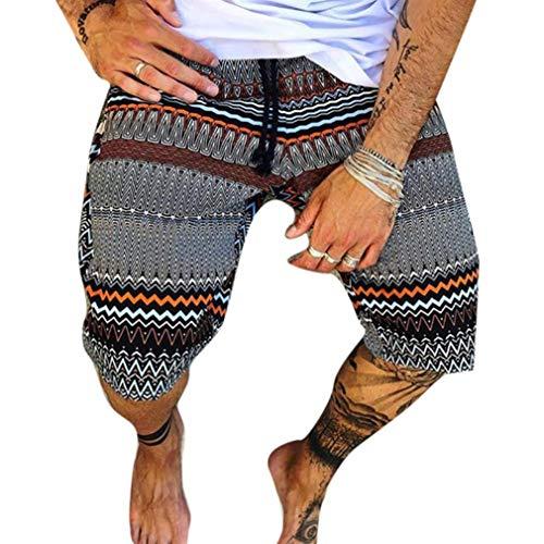 Tasty Life Sommer Herren Casual Shorts, Ethno-Stil Bedruckte Shorts Retro Beach Shorts, Herren Freizeit Elastisch Bedruckte Shorts Beach Pants Sport(XL,Gray)