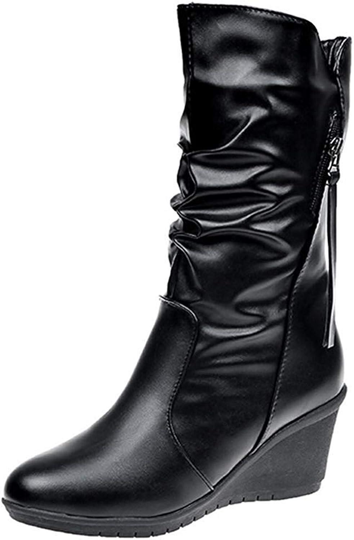 Lelehwhge Women's Comfy Round Toe Medium Wedge Heel Side Zipper Slouchy Mid Calf Boots Black 9.5 M US