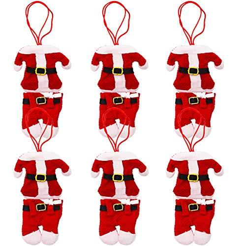 BESTZY 6pcs Portaposate Natalizie Babbo Natale Tasche Posate per Forchetta Cucchiaio Decorazione della Tavolo di Natale
