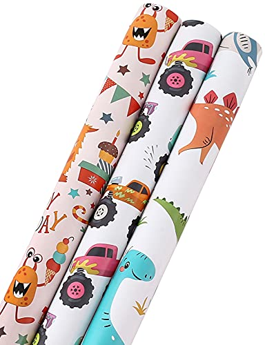 CAMKUZON Birthday Wrapping Paper Rolls for Kids Boys Girls Baby Shower Holiday - Cartoon Dinosaur, Monster Truck and Happy Party Designs Gift Wrap - Pack of 3, 17.7 Inch X 10 Feet Per Roll