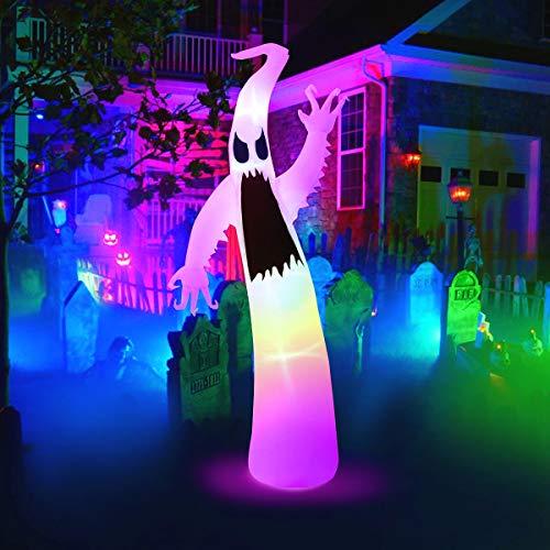 MAOYUE Aufblasbare Halloween-Geist für Halloween-Dekorationen, eingebaute LED-Lichter mit Haltegurten, Heringen für Outdoor, Halloween, Hof, Dekoration, Garten, Rasen
