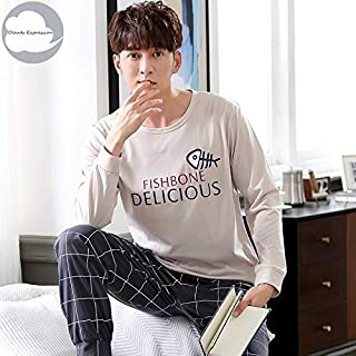 Autumn Winter Knitted Cotton Cartoon Men's Pyjamas Striped Pajamas Set Casual Male Sleepwear Pyjamas Night Pijamas 3XL Homewear Home wear pajamas (Color : Gold, Size : XXL)