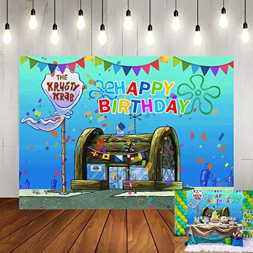 Cartoon Animation Spongebob Theme Photography Backdrop Children Happy 1st Birthday Party Decorations Banner The Krusty Krab Photo Background Vinyl 5x3ft Baby Shower Booth Studio Props