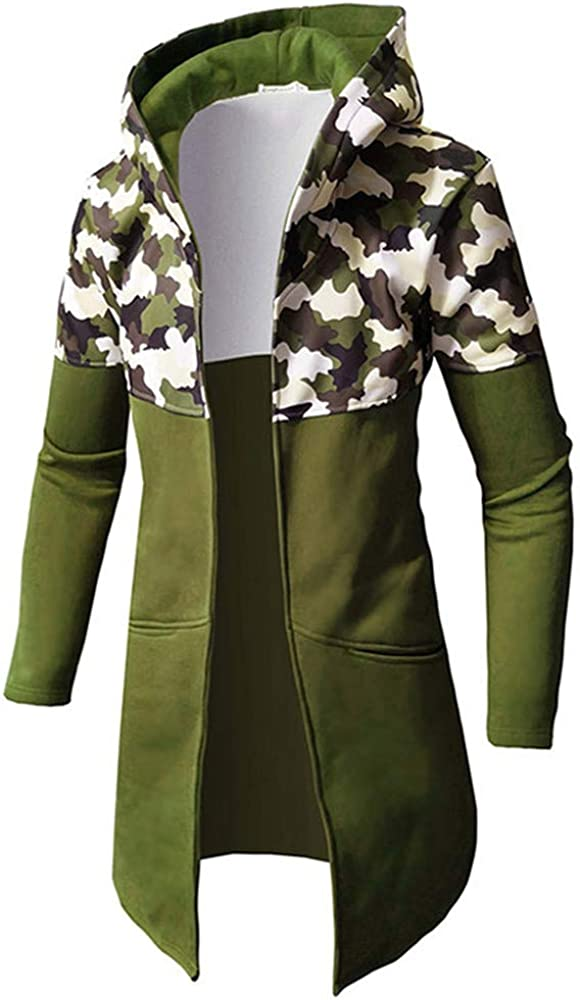 Forthery Clearance Men's Trench Coat with Hood Winter Camouflage Zipper Jacket Overcoat Cardigan