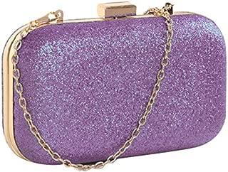 BEESCLOVER Hot Fashion PU Leather Women's Mini Evening Bag Fashion Clutch Banquet Bag Girls Shoulder Bag Messenger Bag Light Purple One Size