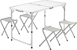 Casaria Mesa de Aluminio Plegable XXL 4 taburetes Plegables función de Maleta Camping Transporte fácil GrisBlanco jardín