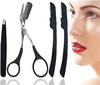 Eyebrow Face Razor Trimmer Kit with Eyebrow Razors, Tweezers for Eyebrow, Eyebrow Comb Scissors for Women and Men, All-in-One Eyebrow Shaper Epilator Hair Remover Set-4 Packs