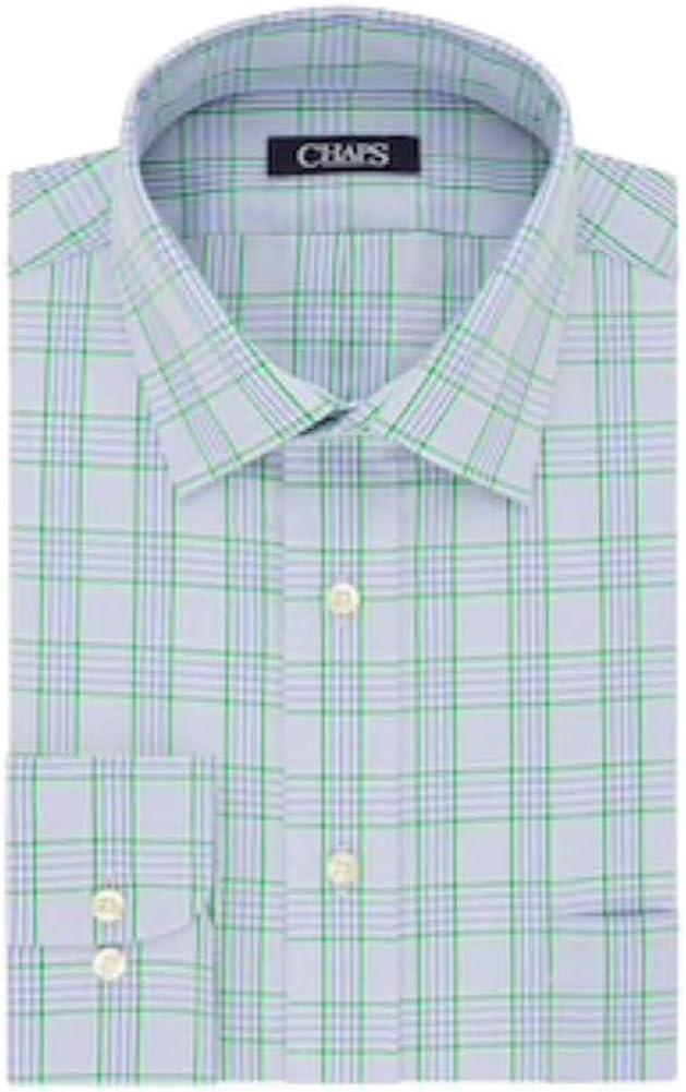 Chaps Big & Tall Regular-Fit Stretch-Collar Wrinkle-Free Dress Shirt, Sky Blue (17.5 Neck 35-36 Sleeve)