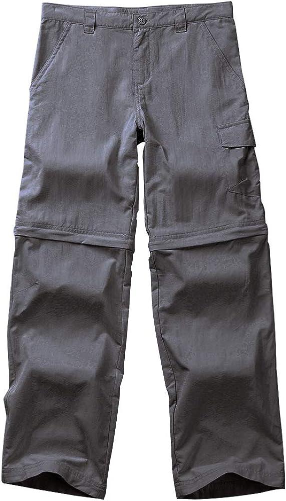 Kids Boy's Cargo Pants-Youth Outdoor Waterproof Hiking Camping Fishing Trail Zip Off Trousers #911 Grey-XS