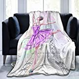Minalo Throw Blanket,Beautiful Ballerina Posing and Dancing On Eiffel Tower,Hand Drawn Girl Ballet Dancer,Microfiber All Season Bed Couch,40' x 50'