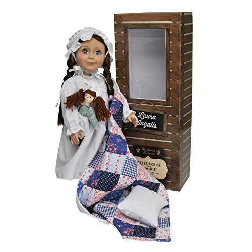 Officially Licensed Little House on The Prairie Laura Ingalls 18 Inch Doll. Includes Quilt/Pillow, Rag Doll, Nightgown, Cap and a Log Cabin Keepsake Box. Compatible with American Girl Doll.