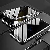 iPhone SE ケース 第2世代 OURJOY iPhone8 アルミ バンパー ケース アイフォン7 対応 覗見防止 両面ガラス 360°全面保護 マグネット式 磁気接続 スマホケース ストラップホール付き 耐衝撃 クリアケース (iPhone SE 2020 シルバー)