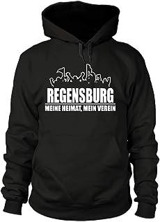 shirtloge Regensburg - Fanblock - Meine Heimat, Mein Verein - Fussball Fan Kapuzenpullover - Größe S - 3XL
