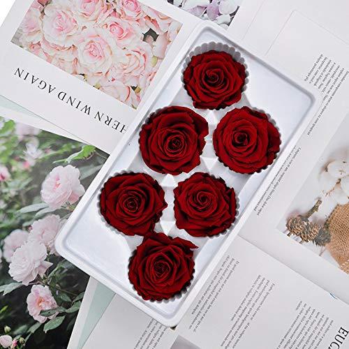 Getrocknete Blumen Konservierte Rosen Blumen Immortal Rose 5-6cm Durchmesser Muttertag DIY Hochzeit Äonenleben Blume Material Geschenk6pcs / Box Stufe BWeinrot