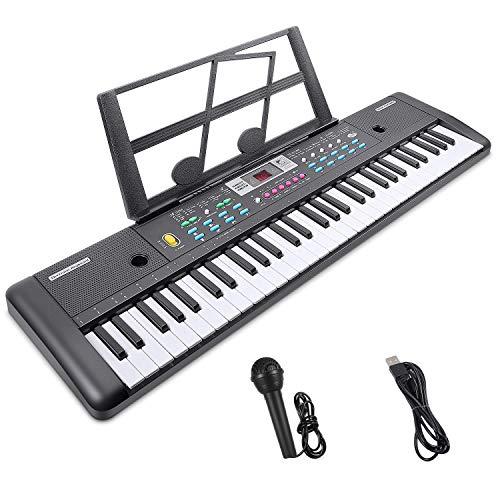 Teclado Electrónico Piano 61 Teclas, Teclado de Piano Portátil con Atril, Micrófono, Fuente de Alimentación, Música Digital, Teclado de Piano (negro)