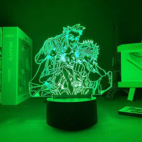 LUOXIA - Lámpara de noche 3D Anime Killua Gon 3D Hunter X Hunter LED Night Light for Kids Bedroom Decor Paladiknight Leorio Birthday Gift Manga Toy Lámpara de mesa 7 Color Touch