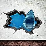 Etiqueta engomada del arte de la pared agrietada de la cueva del tiburón del océano del mar del acuario 3D a todo color 70x110cm