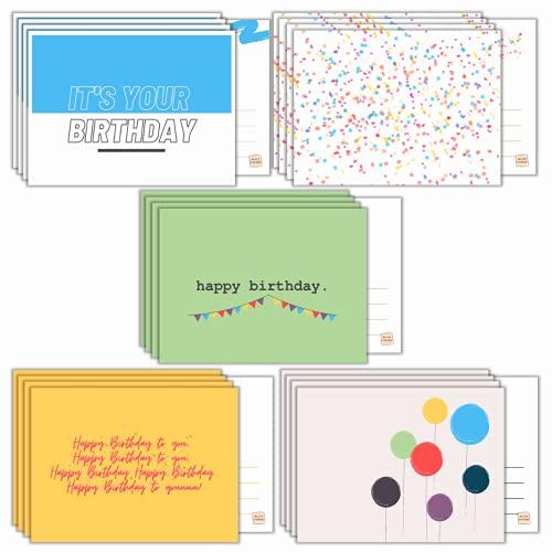 BLATT PAPIER® | 20er Premium Geburtstagskarten Set (matt) – Postkarten Geburtstag für jeden Anlass – hochwertige Geburtstagspostkarten – 20er Geburtstag Karten Set – Glückwunschkarten Set