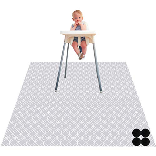 Paw Legend Washable Highchair Splat Floor Mat- Anti-Slip Silicone Spot Splash Mess Mat(53'' X 53'')-Food Catcher Art Craft Leak Proof Mat,Diamond