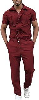 AOWOFS Mens Fashion Hip Hop Stand Collar Jumpsuit Solid Color One Piece Romper Suit Shorts Sleeve Jumpsuit
