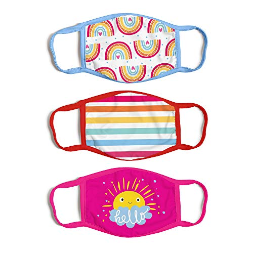 ABG Accessories 3-Pack Kid Fashionable Protection, Reusable Fabric Face Mask Age, Sunshine Design, Girls 4-14