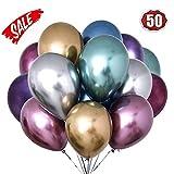 O-Kinee Glänzende Metallic-Luftballons für Geburtstage, Hochzeiten, Babypartys und Weihnachtsdekorationen Packung mit 50 Stück (Farbe)