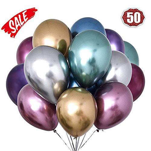 O-Kinee LAKIND Globos Metalizados 50-Pack Globos Metalicos Globo Metalizado Globos De Helio Globos De Látex para La Fiesta De Cumpleaños (50-Pack)
