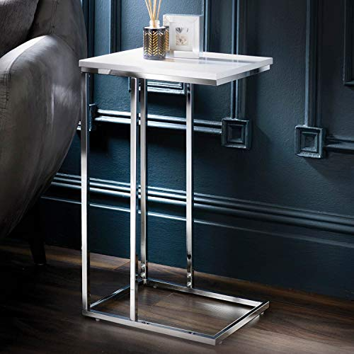 E2B Norsk Sofa Side Table End Table Coffee Table White High Gloss, for Laptop with Metal Frame Nightstand Table Beside Table