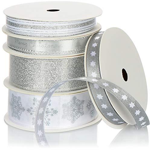 com-four® 5-TLG Geschenkband Set in verschiedenen Größen - Dekorationsband für Weihnachten und Hochzeiten - Schleifenbänder mit verschiedenen Motiven [Auswahl varriert] (silberfarben/weiß)