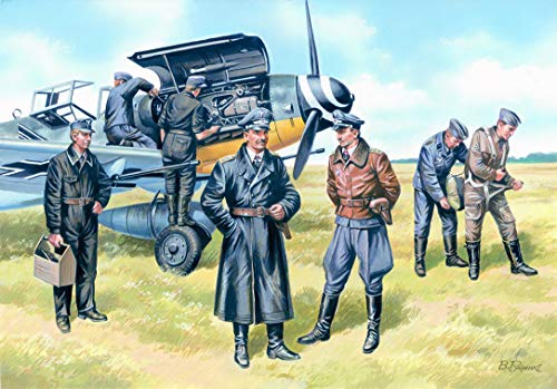 ICM 1/48 Scale 1939-1945 German Luftwaffe Pilots and Ground Personnel, 3 Pilots and 4 Mechanics - Plastic Figure Model Building Kit # 48082
