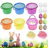 HAKOTOM 6pcs Cestas de Búsqueda de Huevos Pascua, Cesta de Buscar Huevos, Mini Cesta Colores Plástico, 12pcs Huevos de Espuma de Rafia, Papel Triturado para Niños Niñas, Dulces, Decoración de Pascua.
