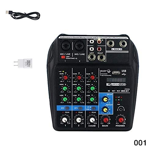 Bluetooth Mini USB Audio Mixer Verstärker Verstärker Bluetooth Board 48 V Phantomspeisung 4 Kanäle Audio Mixer Professionale für DJ Karaoke (001)