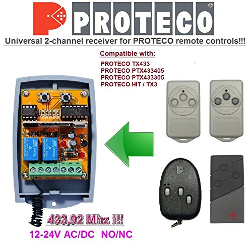 Proteco compatible receptor. 2-canales 433,92Mhz universal de radio módulo para PROTECO TX433, PTX433405, PTX433305, HIT / TX3 transmisores. 12-24V AC/DC, NO/NC 433.92Mhz rolling / fixed code