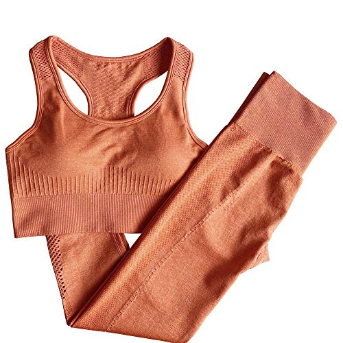 Mallas Push up Mujer,Traje de Fitness de Yoga Deportivo sin Costuras Mujer-Orange_L,Deporte Correr Yoga Pantalón de Sudoración Adelgazantes