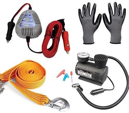 Pannenset – Ring-Starthilfe-Set für Auto + Luftkompressor + Abschleppseil + Arbeitshandschuhe