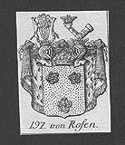 von Rosen Wappen vapen coat of arms Genealogie Heraldik Kupferstich