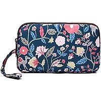 Badiya Floral Cellphone Triple Zip Clutch Purse with Wristlet
